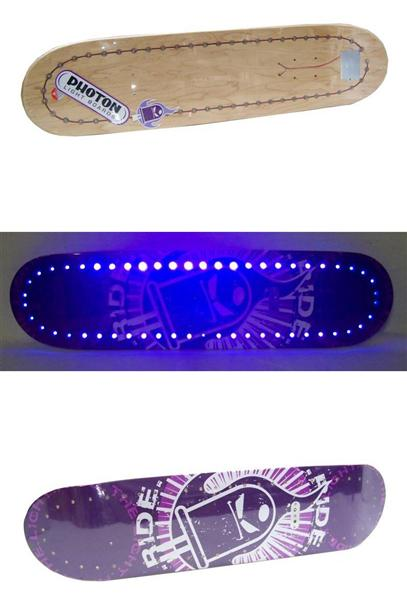 photon skateboard deck mit led licht ohne rollen achsen griptape ebay. Black Bedroom Furniture Sets. Home Design Ideas
