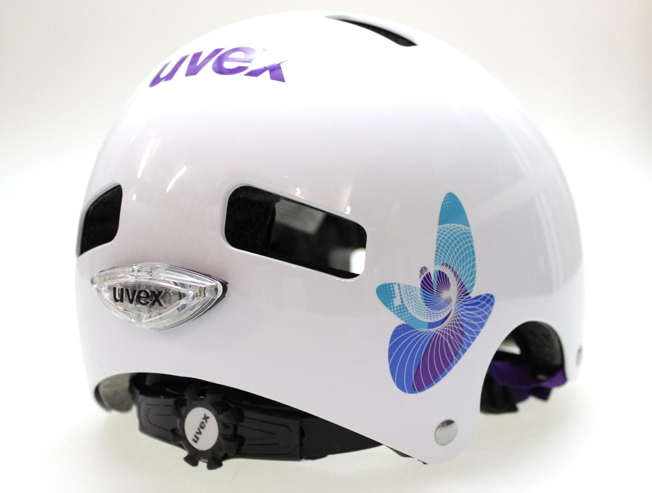 uvex kid 3 led taillight butterfly blue children 39 s bike helmet school ebay. Black Bedroom Furniture Sets. Home Design Ideas